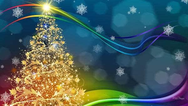 Golden Christmas Tree Wallpaper