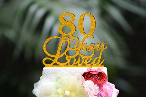 80Th Anniversary Cake Toppers