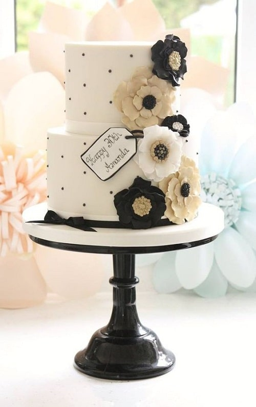 Black And Off White Birthday Cake Images