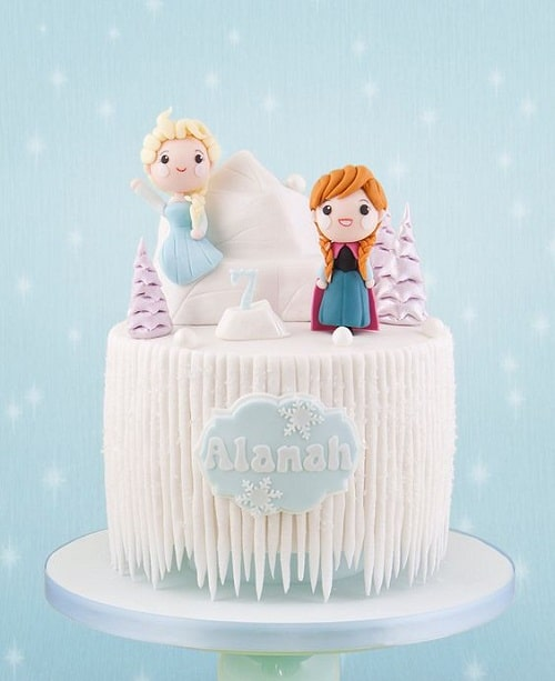 Cute Ana and Elsa on Iceberg Frozen Birthday Cake