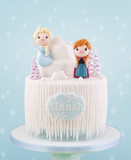 Cute Ana and Elsa on Iceberg Frozen Birthday Cake