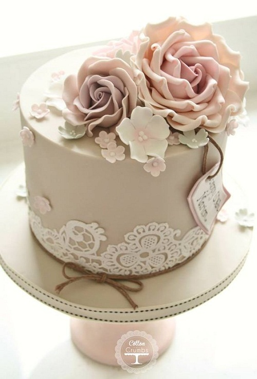 elegant brown birthday cake images with flower toppers - Birthday Cake Designs Ideas