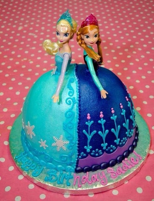 Elsa and Ana Frozen Birthday Cake Circular