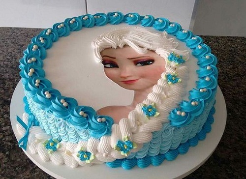 Edible Elsas Image With Icing Hair Elsa Frozen Birthday Cake