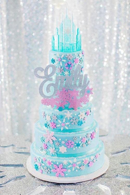 Elsa's Castle Pink and Blue Birthday Cake