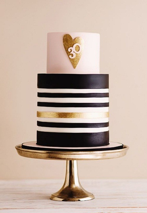 Gold, Black and White Sparkling Heart Images of Birthday Cakes