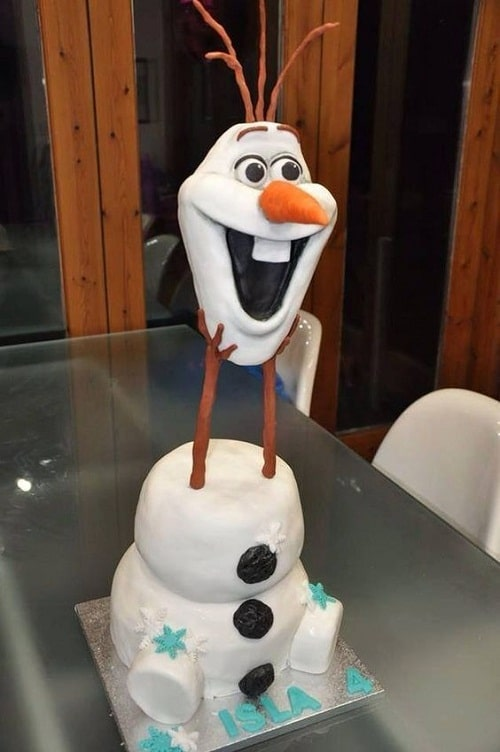 Olaf Holding his Head Frozen Birthday Cake