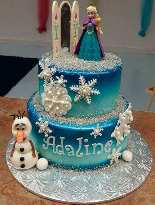Pretty Ana and Olaf Frozen Birthday Cake