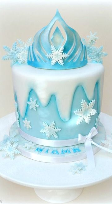 Queen Elsa Crown Frozen Birthday Cake
