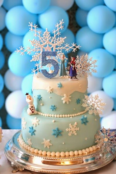 Snowflakes Ana Elsa and Olaf Frozen Birthday Cake