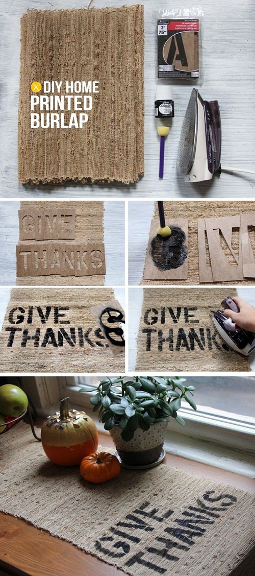 Burlap with Prints DIY Craft Ideas