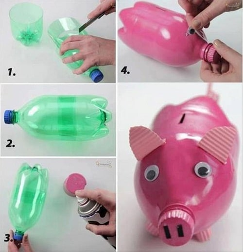 DIY Pink Pig Coin Bank Craft Ideas