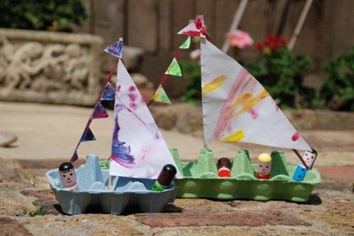 DIY Boat Projects Made of Egg Boxes