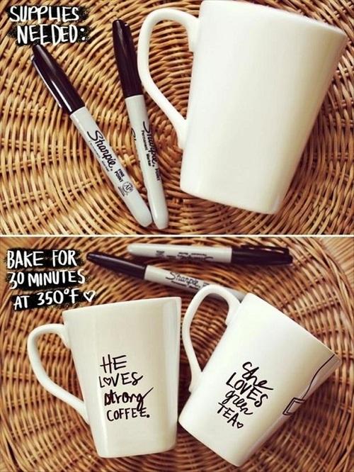 Doodled Cups DIY Craft Ideas