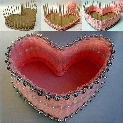 Heart-Shaped Basket DIY Craft Ideas