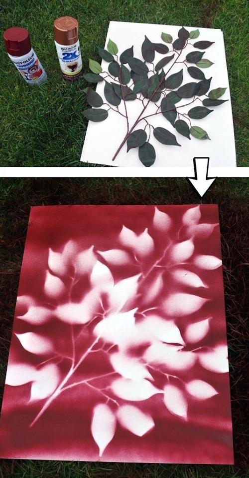 Leaves Spray Paint DIY Craft Ideas