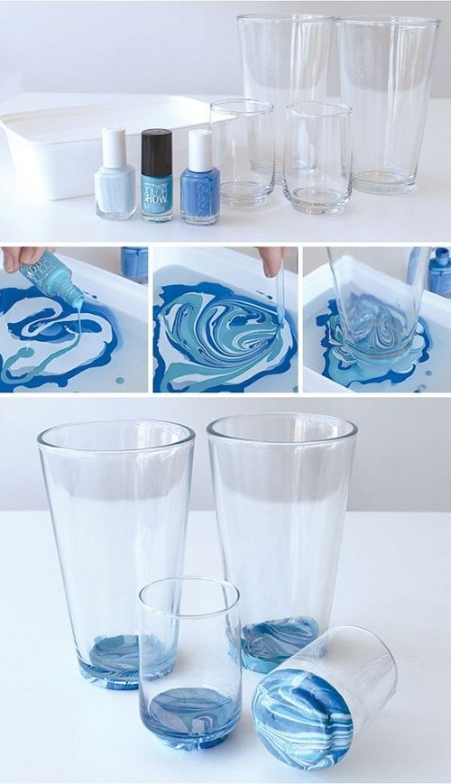 Marbled Glassware using Nail Polish DIY Craft Ideas