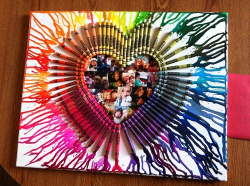 Melted Crayon Art Work DIY Craft Ideas