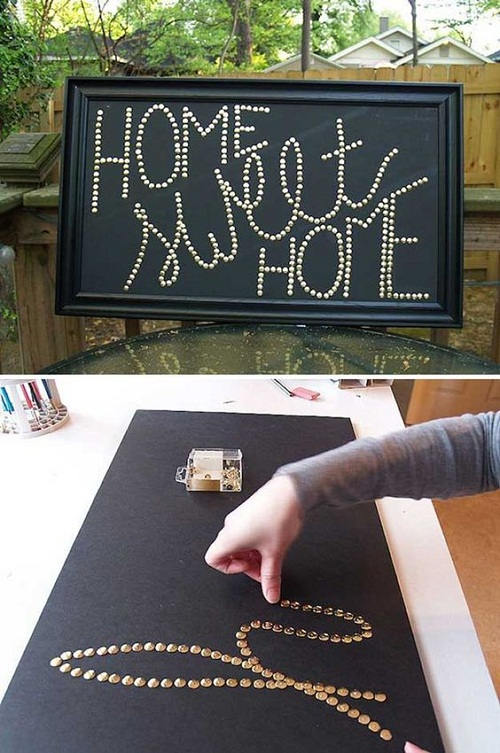 Message using Thumbtacks DIY Craft Ideas