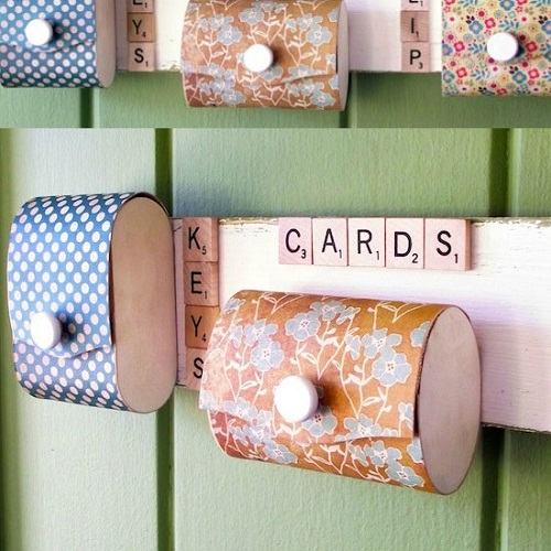 Mini Pocket Organizers with Scrabble Tiles DIY Craft Ideas