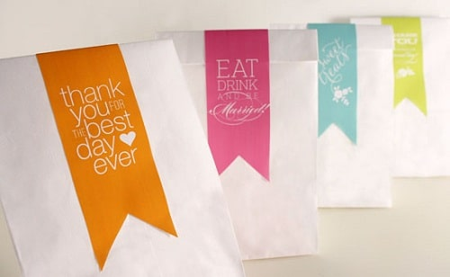Quotation Stickers on White Paper Bags DIY Craft Ideas