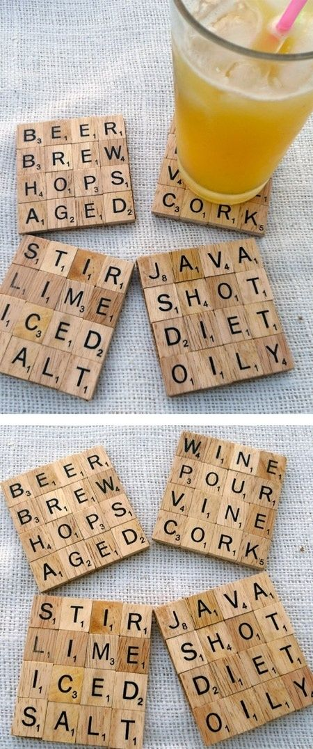 Scrabble Tile Coasters DIY Craft Ideas