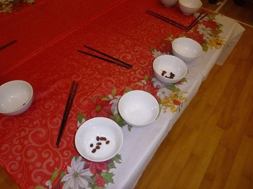 Chopsticks and Raisins Game for Kids on Birthday