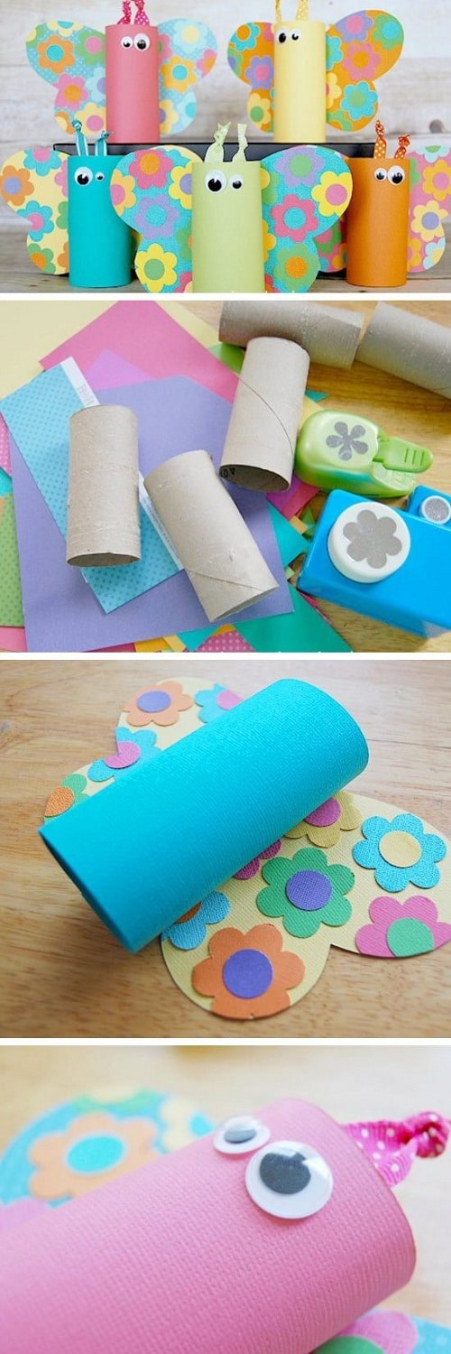 DIY Paper Roll Butterflies Craft Projects