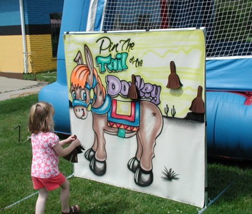 Pin the Donkey's Tail Game for Children on Birthdays