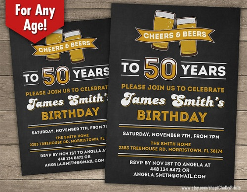 Cheers And Beers Invitation 50th Birthday Ideas