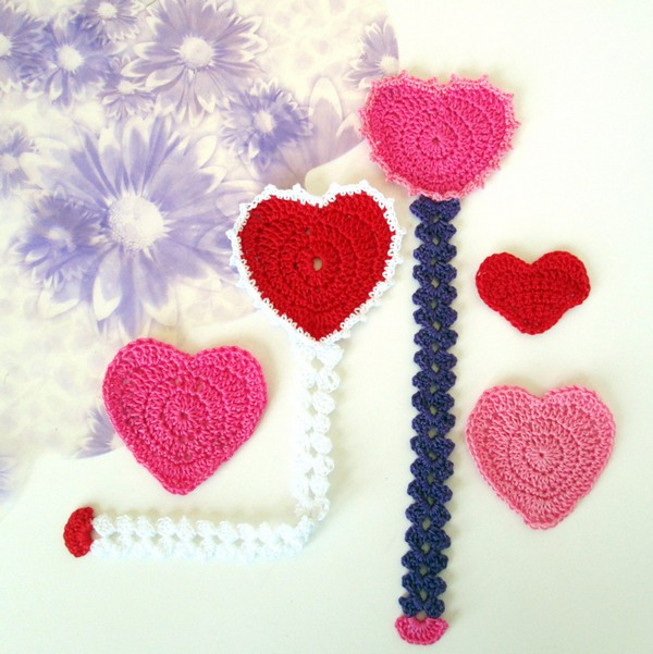 Crochet Heart Bookmark Pattern