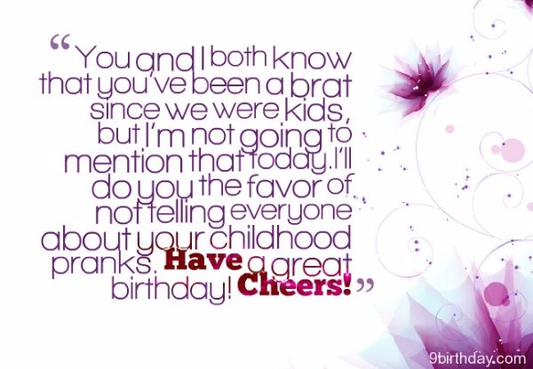Funny Birthday Wishes SMS For Sister