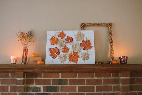 Glittered Leaves DIY Room Decor
