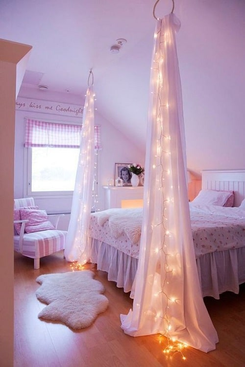 43 easy diy room decor ideas 2018 my happy birthday wishes hanging ceiling curtain diy room decor solutioingenieria Choice Image