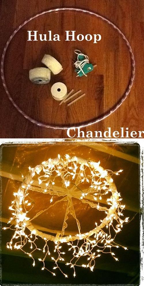 Hula Hoop Chandelier DIY Room Decor