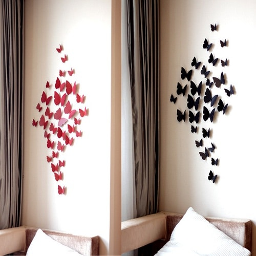 Red and Black Butterflies DIY Room Decor