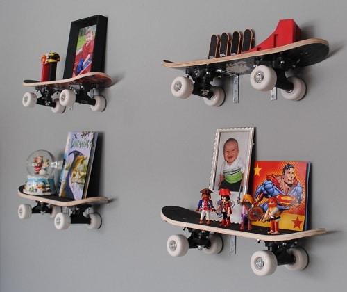 Skating Board Organizer DIY Room Decor
