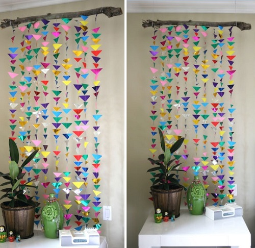 Triangle Curtain DIY Room Decor. 43 Easy DIY Room Decor Ideas  2018    My Happy Birthday Wishes