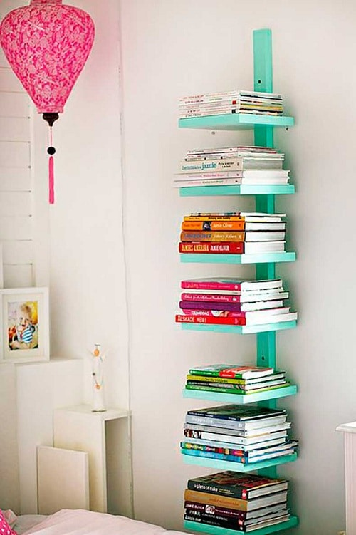 vertical bookshelf diy room decor - Diy Bedroom Decor Ideas