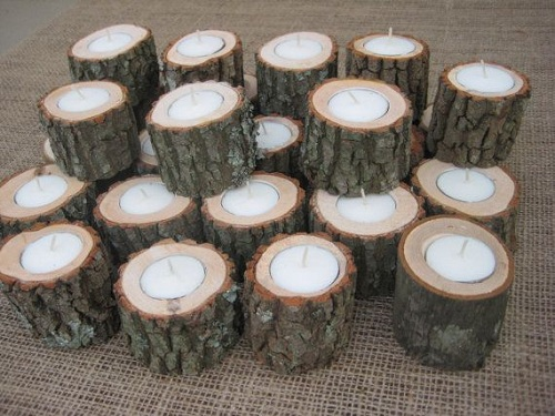 Backyard Wood with Candle Decors DIY Ideas
