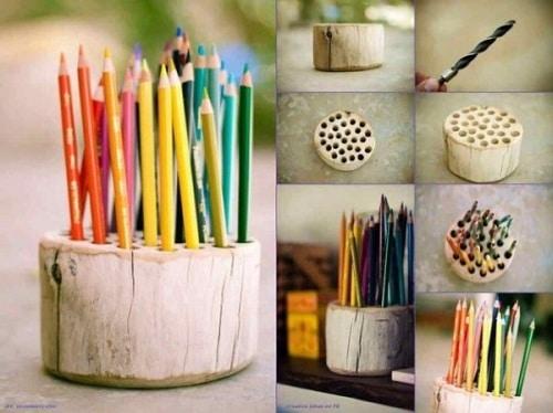 Bedroom Log Pencil Holder DIY Ideas