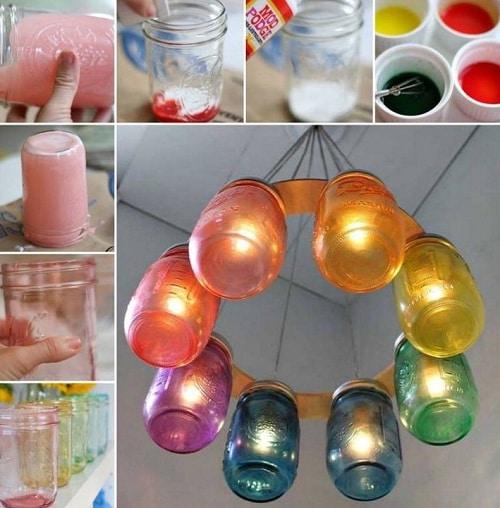 Bedroom Mason Jars Hanging Lamp DIY Ideas