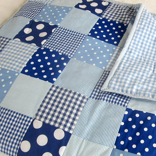 Blue Checkered and Dots Patchwork