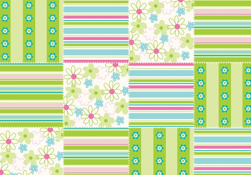 Green and Pink Flower Patchwork