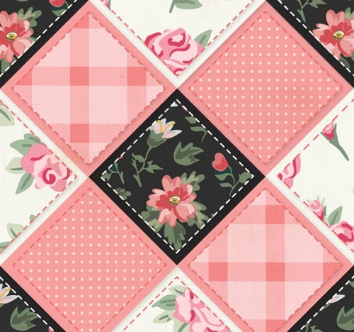 Pink Flowers Patchwork Image