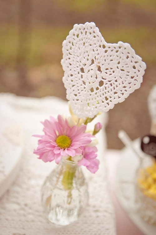 Wedding Heart Doily Centerpiece DIY Ideas