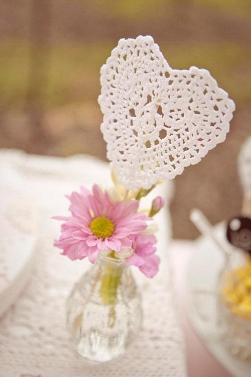 Wedding Heart Doily Centerpiece DIY Ideas