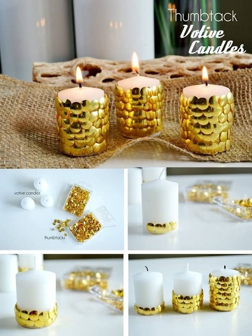 Wedding Thumbtacks on Candles DIY Ideas
