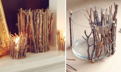 twigs candle holder diy room decor - Diy Room Decor Ideas