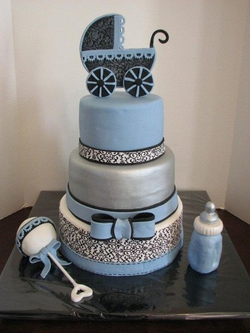 Baby Stroller, Toy and Bottle Christening Cakes for Boys